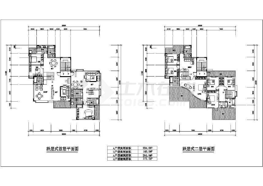 某地比较详细的跃层式住宅楼户型建筑平面图