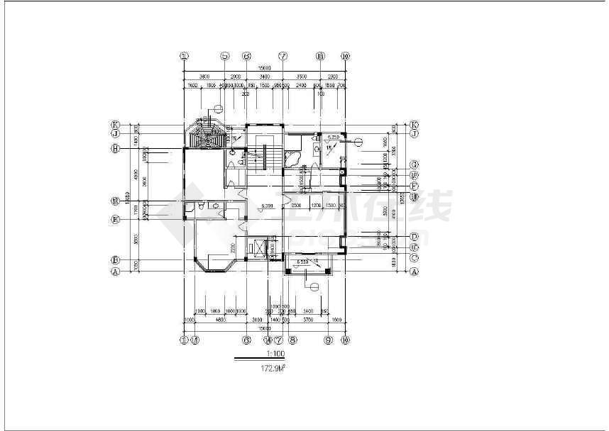 某高级独栋别墅设计施工图纸(标注详细)