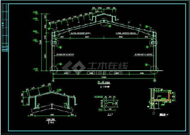 某24m跨门式刚架轻型房屋钢结构厂房整套cad设计施工图-图1