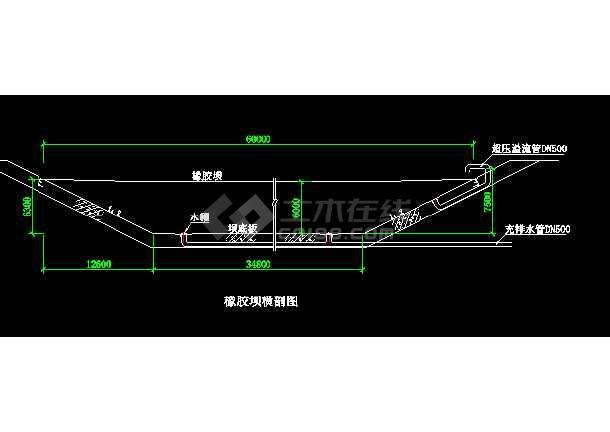 贵州xx橡胶坝施工cad图纸设计-图3