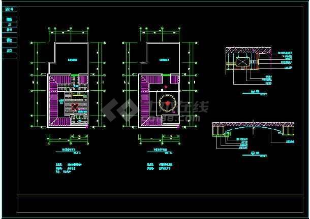 带天台别墅室内设计装修cad平立剖面施工图纸