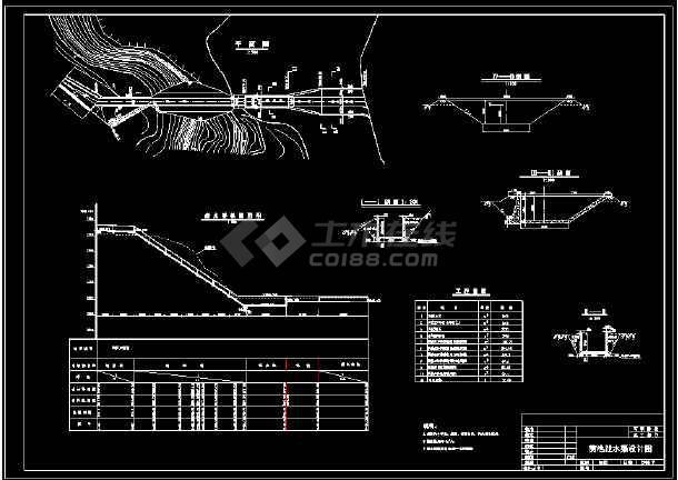 某电站厂前池压力管道cad设计施工图-图1