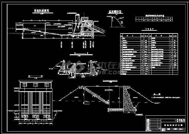 某电站厂前池压力管道cad设计施工图-图3