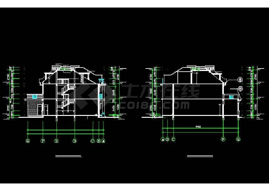一套连体别墅建筑施工图纸(共11张)