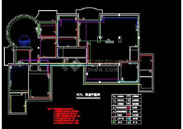 住宅室内照明电路设计cad布置图图片