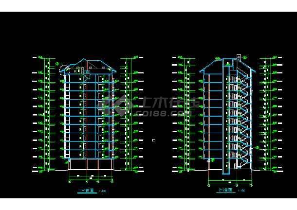 某市区沿街小高层建筑CAD平立剖面模块cad图纸下载在室内设计哪里图片