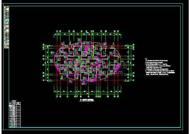 纯剪力墙结构住宅楼全套cad施工设计图纸-图1