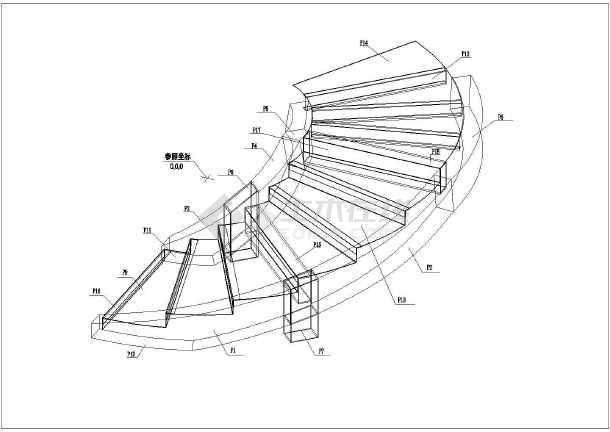 某行政服务中心钢结构旋转楼梯cad图纸