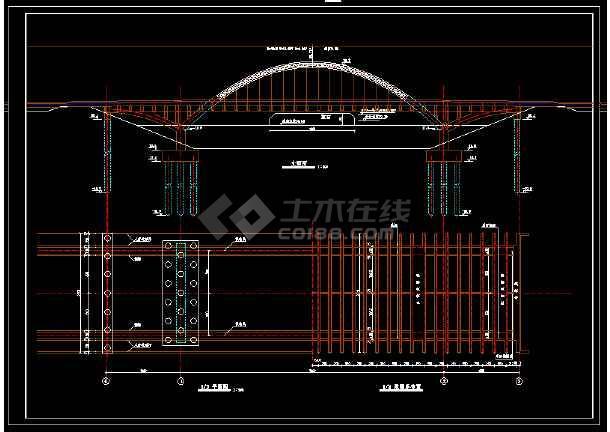 整套中承式拱桥整套建筑设计cad施工方案图-图1