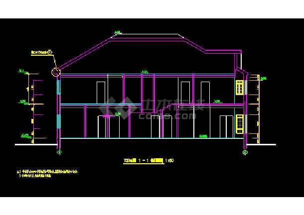 钢结构别墅建筑施工cad设计平立剖面图