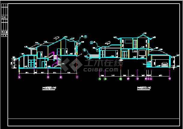 某别墅建筑施工设计平立剖cad全套图