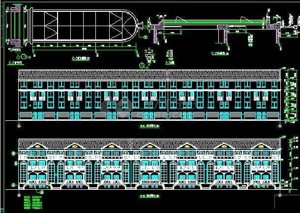 某连体别墅圈套建筑cad设计施工图纸