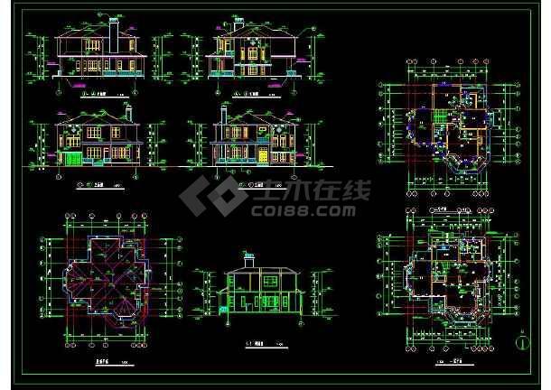 某地小别墅建筑设计cad平立剖图