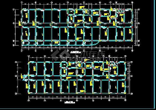 某房地产公司框架结构综合楼CAD平面设计图-图2