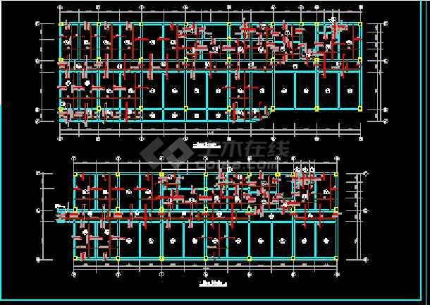 某房地产公司框架结构综合楼CAD平面设计图-图3