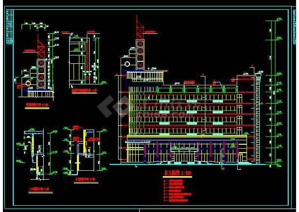 整套六层办公楼设计cad平面施工大样图-图1