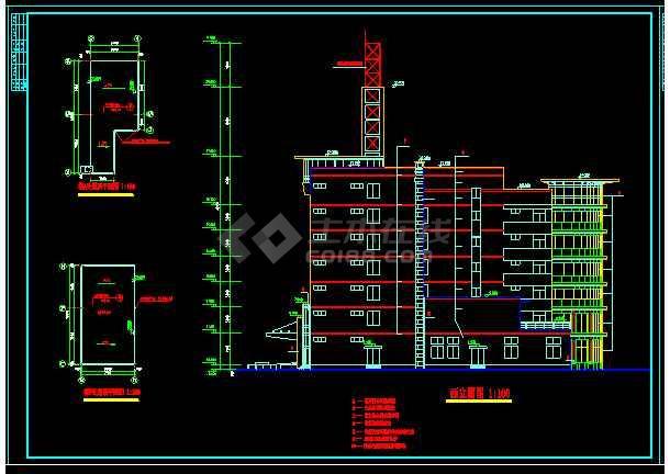 整套六层办公楼设计cad平面施工大样图-图3
