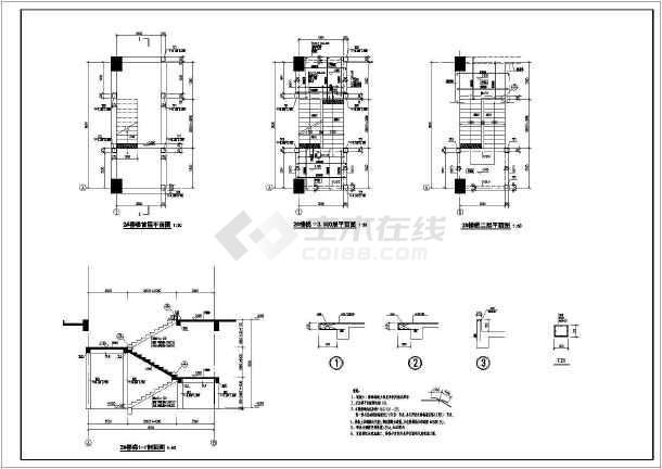 最新框架结构的电梯平面剖面详图-图1