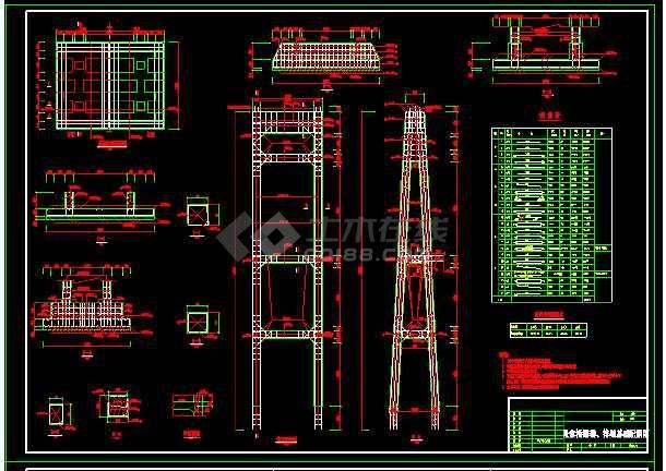 钢索桥整套技术cad设计施工大样图-图3