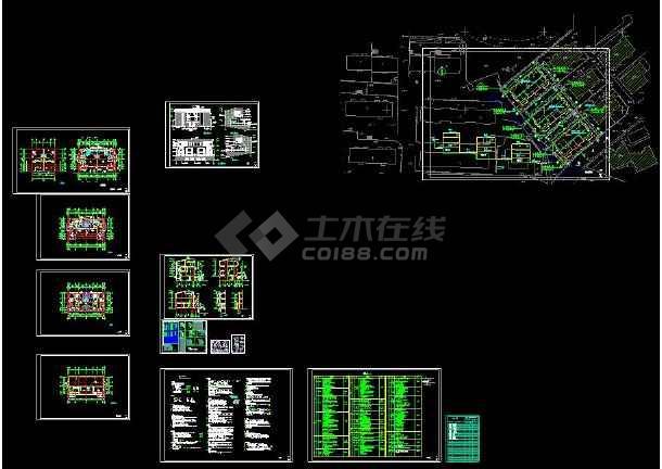 某地多层住宅小别墅建筑设计cad平立剖面图(含设计说明)