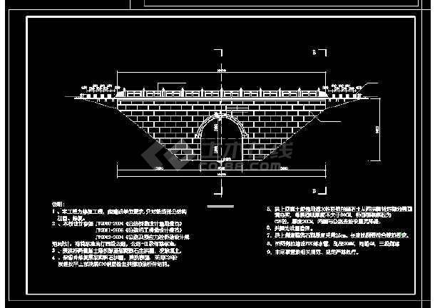单桥洞石拱桥修复工程cad设计施工大样图-图1
