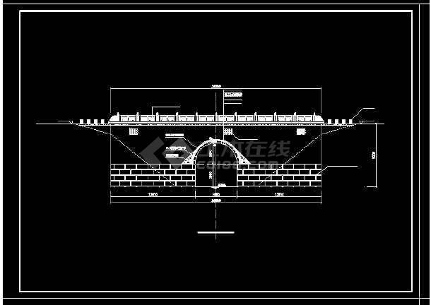 单桥洞石拱桥修复工程cad设计施工大样图-图2