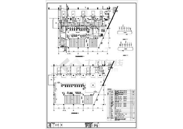 某五星级酒店地下层及商业部分的制冷机房平面大样图及剖面图-图1