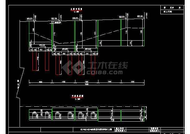 边坡路堑挡土墙cad施工设计大样图-图1