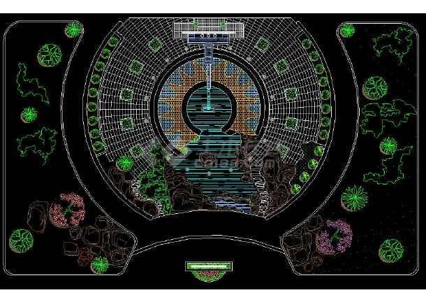 某办公楼前详细绿化CAD设计平面图-图3