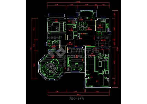 某三居室图纸装修cadv图纸住宅平面图纸门锁cad酒店图片