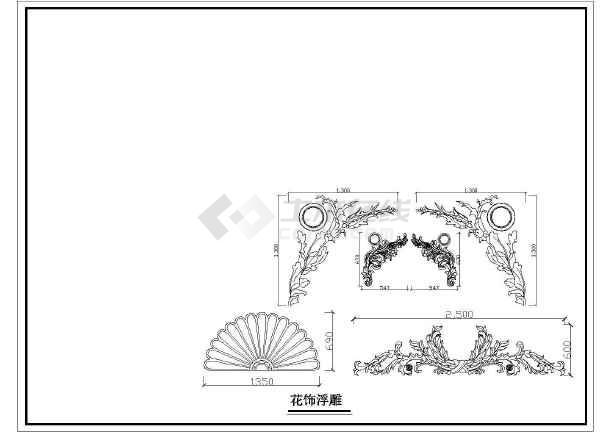 某地园林景观小品设施喷泉与翻水盘、花饰浮雕、花盆、人物雕塑大样图集-图1