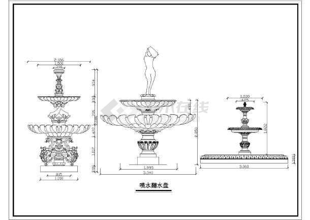 某地园林景观小品设施喷泉与翻水盘、花饰浮雕、花盆、人物雕塑大样图集-图2