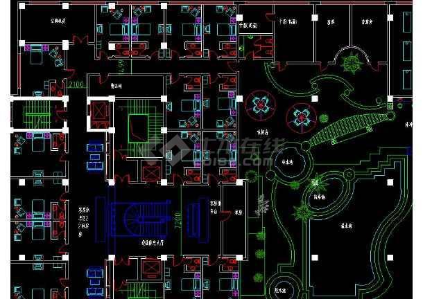 整层桑拿浴室室内装修cad平面布置施工设计图-图1