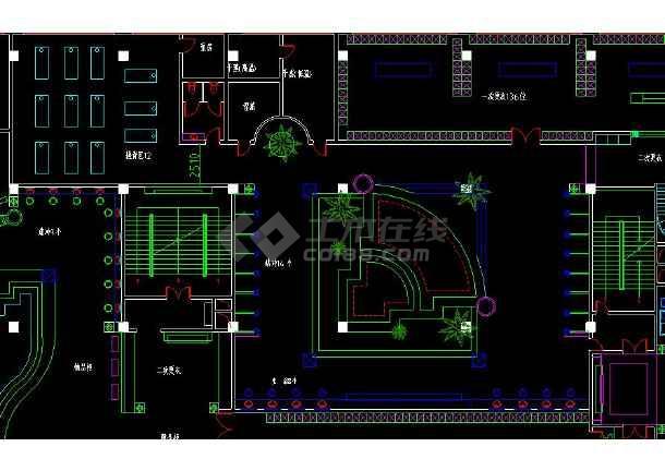整层桑拿浴室室内装修cad平面布置施工设计图-图2