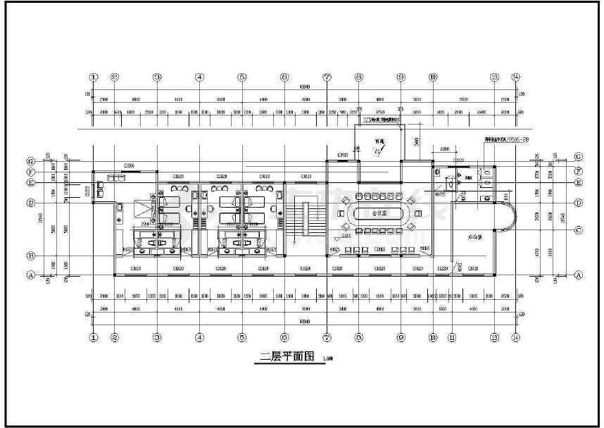 某工厂两层办公楼建筑图(标注详细)-图1