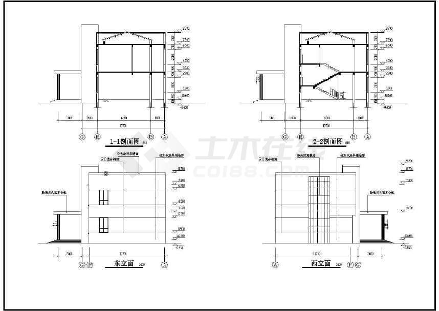 某工厂两层办公楼建筑图(标注详细)-图3