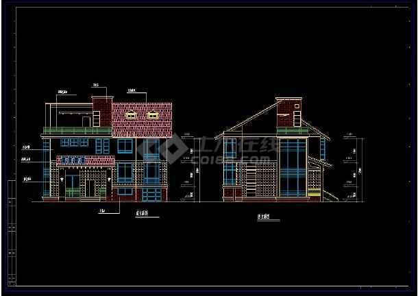 某住宅项目多层套别墅建筑设计cad方案图集-图3