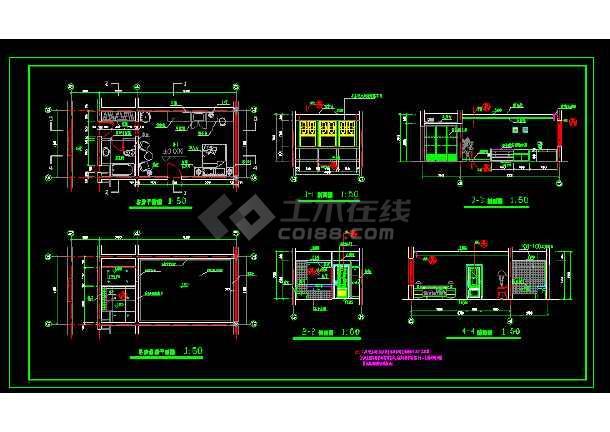 标准间全套建筑施工设计CAD大样图-图3