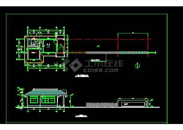 某办公楼门卫建筑cad施工设计图-图1