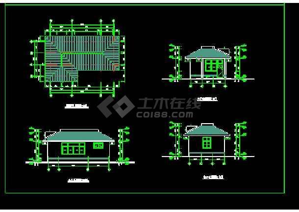 某办公楼门卫建筑cad施工设计图-图2
