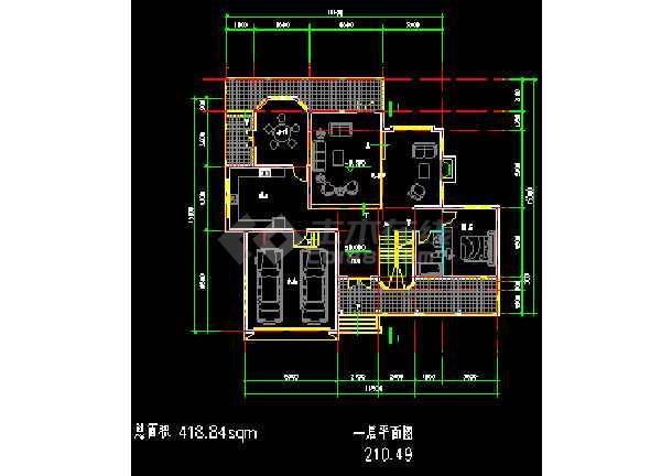 某地多次层小型别墅建筑CAD施工图-图3