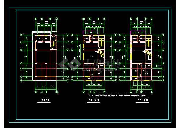 某三层综合楼cad平面施工设计图-图1