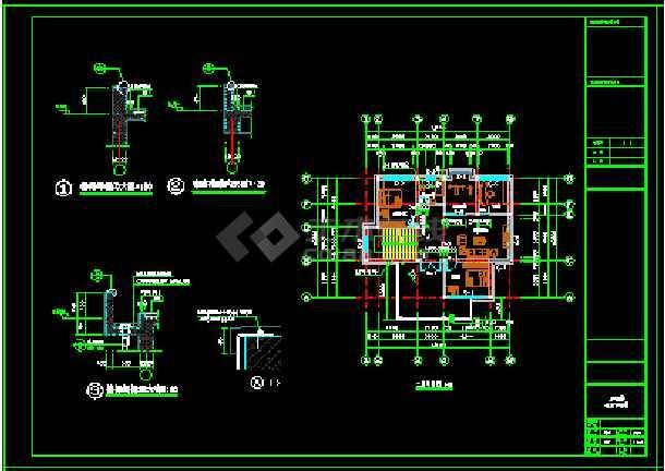 某地小户型经典别墅家装设计cad平面图-图2