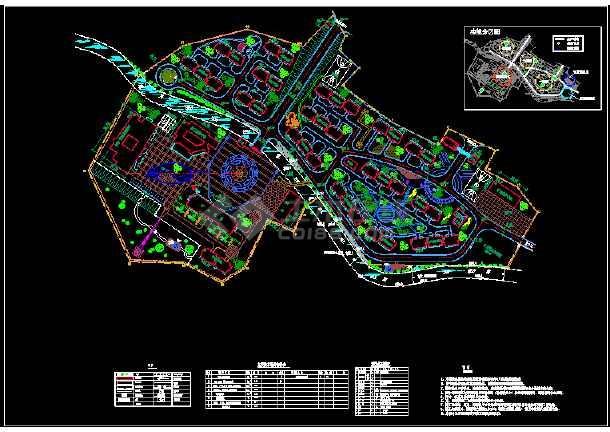 某市生活办公区建筑cad总平面规划设计图纸-图1
