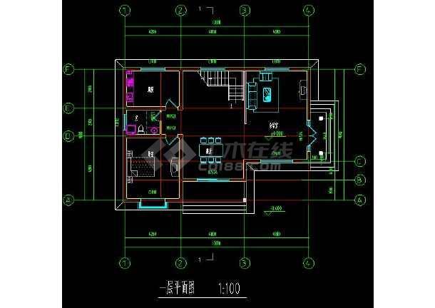 某地乡村住宅别墅建筑设计cad方案图附带效果图-图1