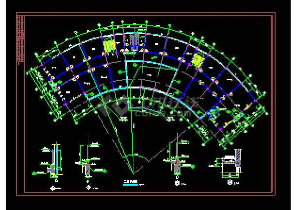 扇形集团办公楼cad建筑设计施工图-图1