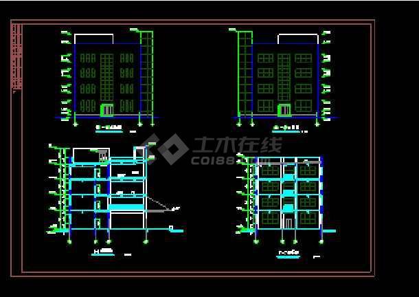 扇形集团办公楼cad建筑设计施工图-图2