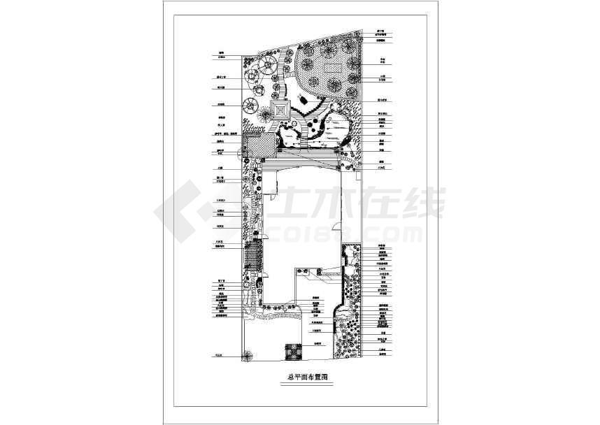某地大型详细别墅庭院景观园林设计图-图3