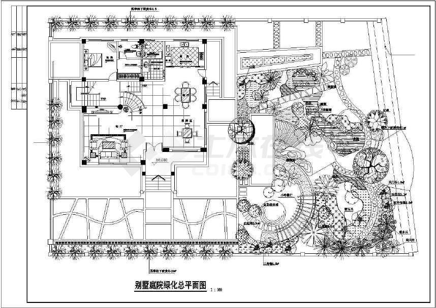 某地小型别墅绿化园林设计施工图(共4张)-图2