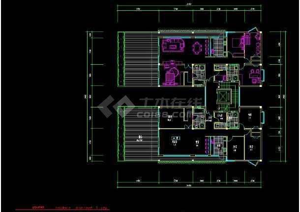 深圳某住宅区别墅建筑设计cad方案图纸-图2